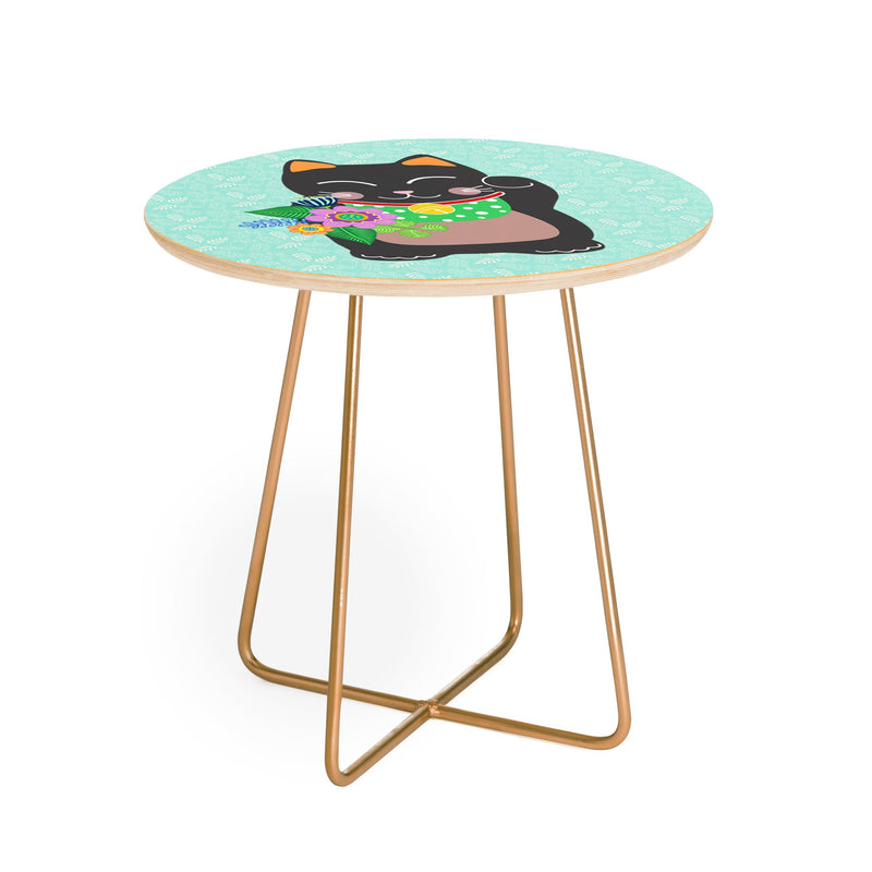 Hello Sayang Lucky Black Cat Round Side Table - theprintypeople