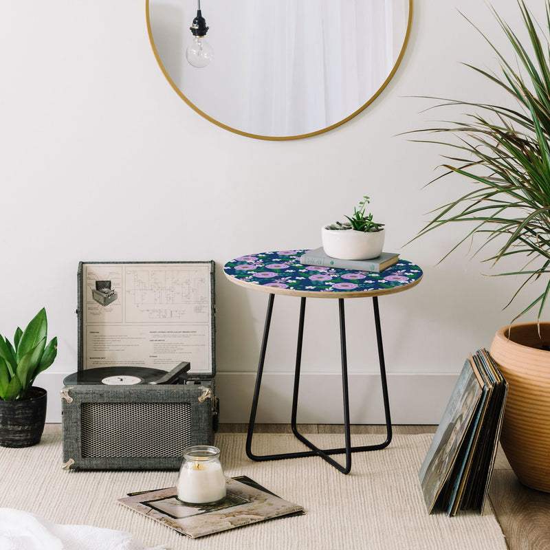 Hello Sayang Sweet Roses Navy Blue Round Side Table - the printy people