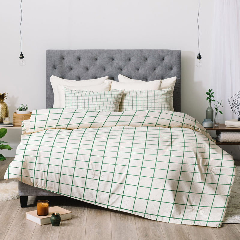 Holli Zollinger FRENCH LINEN GRID EMERALD Comforter - theprintypeople