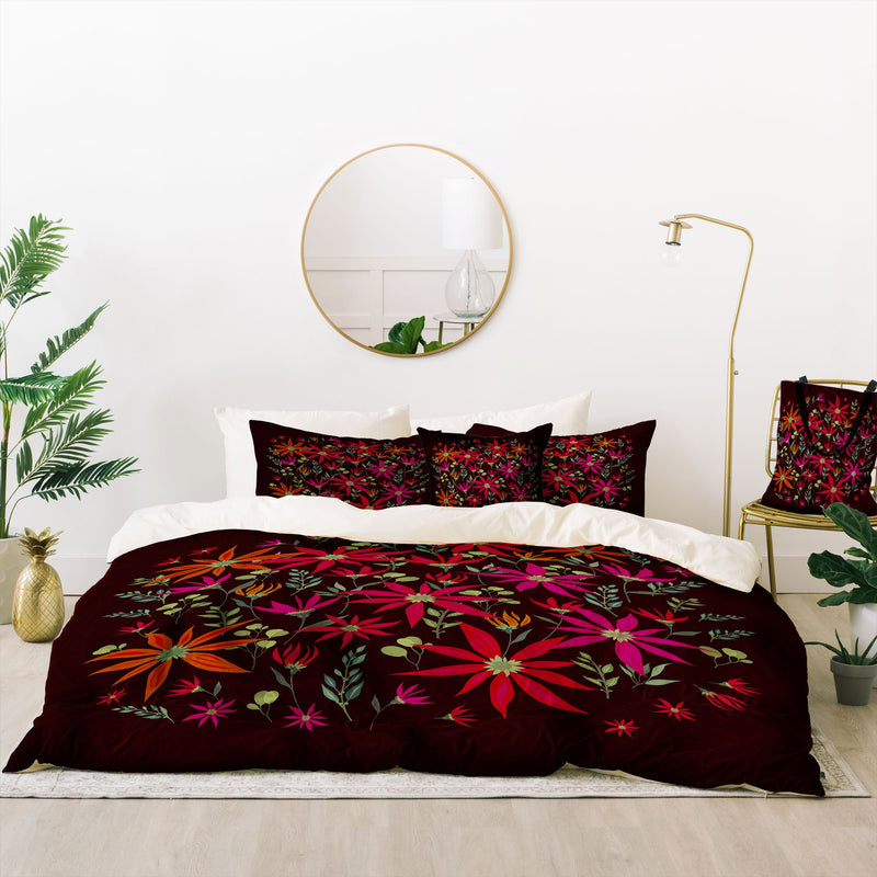 Iveta Abolina Poinsettia Ruby Bed In A Bag Duvet Cover Set - theprintypeople