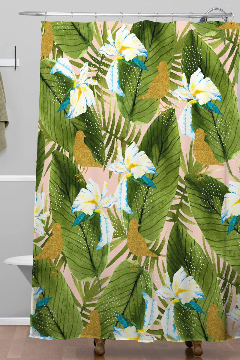 Marta Barragan Camarasa Golden Birds In The Rainforest Shower Curtain - theprintypeople