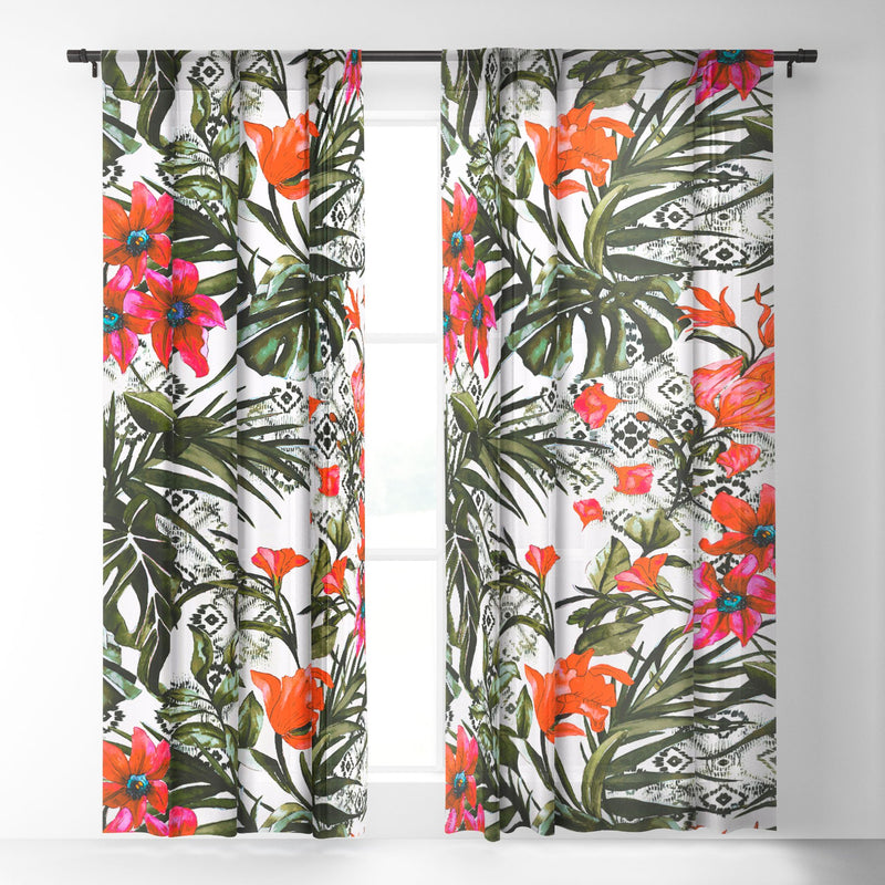 Marta Barragan Camarasa Red Floral Tropic Boho Sheer Non Repeat - theprintypeople