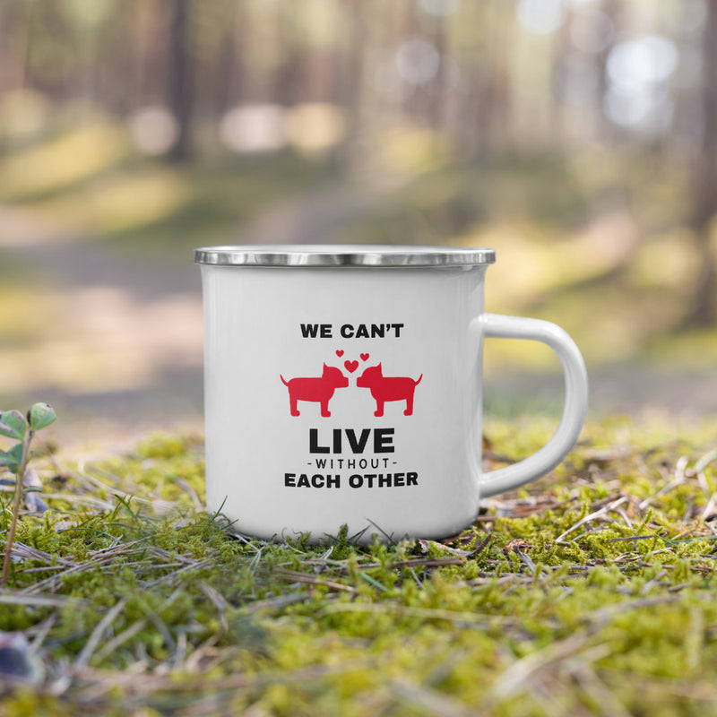 We can't live without each other Enamel Mug - theprintypeople