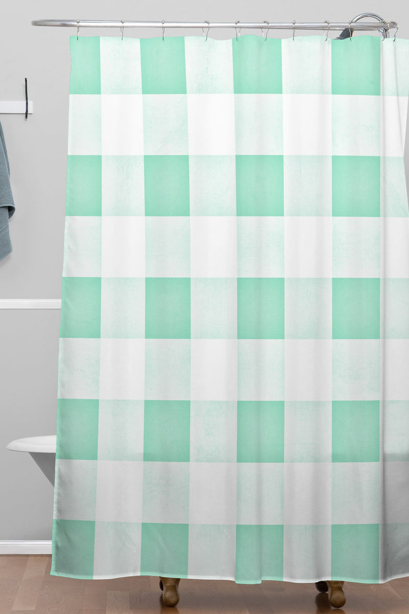 Monika Strigel Farmhouse Shabby Gingham Candy Mint Checkered Plaid Shower Curtain - the printy people