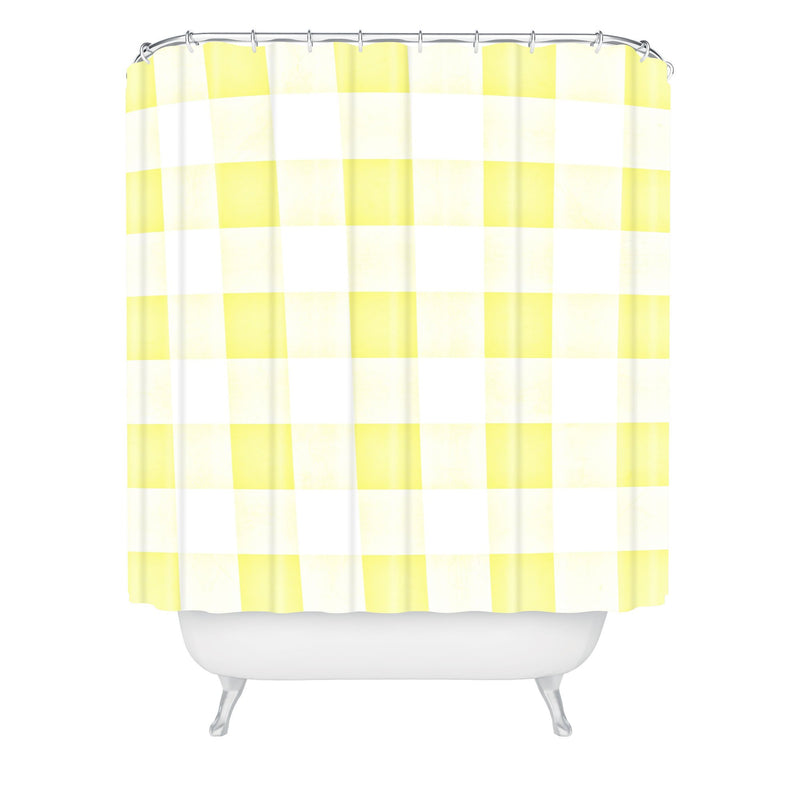Monika Strigel Farmhouse Shabby Gingham Sunny Yellow Checkered Plaid Shower Curtain - theprintypeople