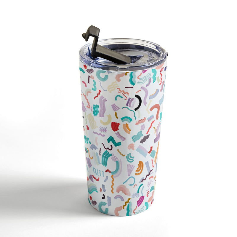 Ninola Design Curly and Zigzag stripes Marker drawing Travel Mug - the printy people
