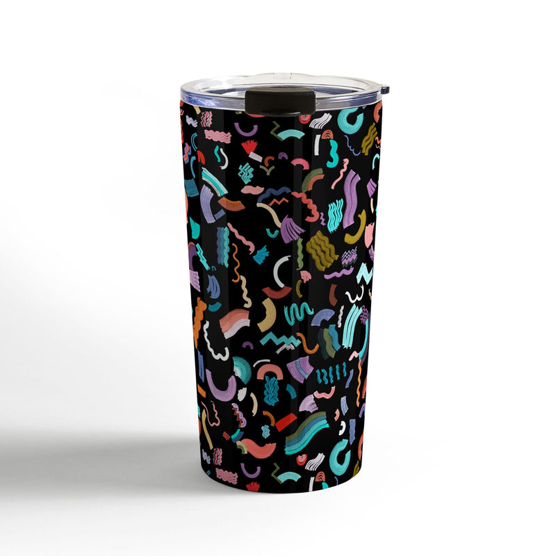 Ninola Design Curly Zigzag Marker Black Travel Mug - theprintypeople