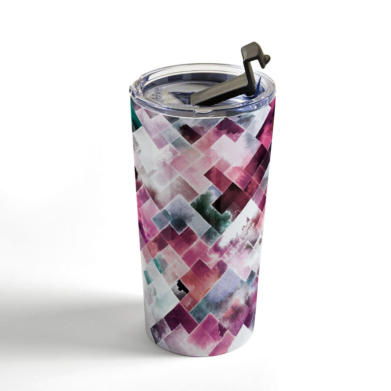 Ninola Design Moody Geometry Pink Travel Mug - the printy people