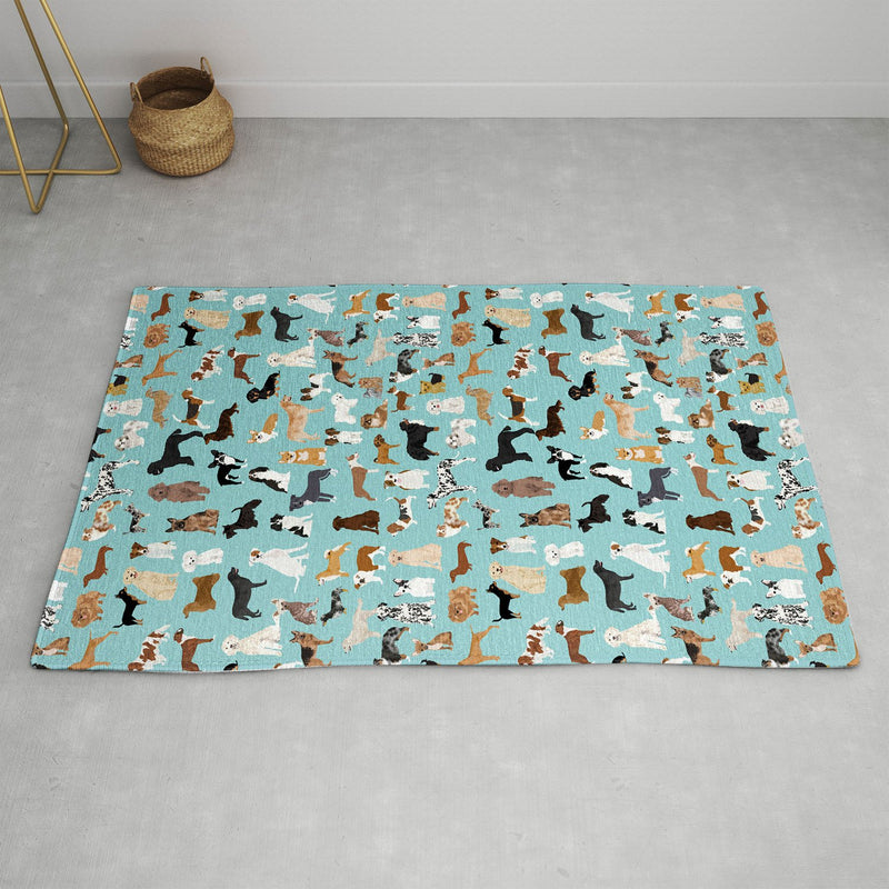 Petfriendly Dogs Pattern Print Dog Breeds Area Rug - the printy people
