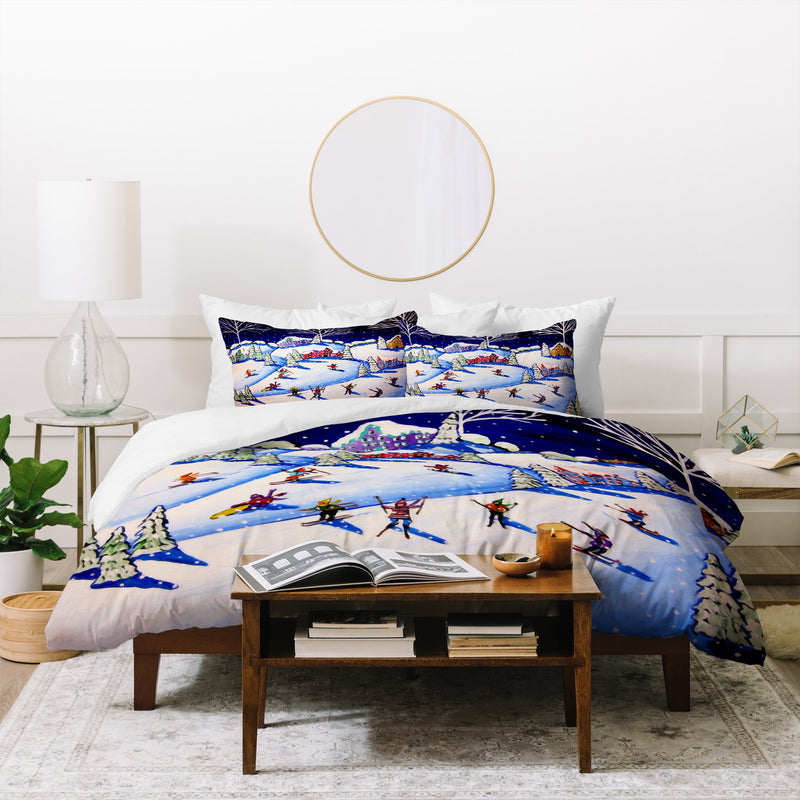 Renie Britenbucher Winter Skiing Fun Duvet Cover - theprintypeople