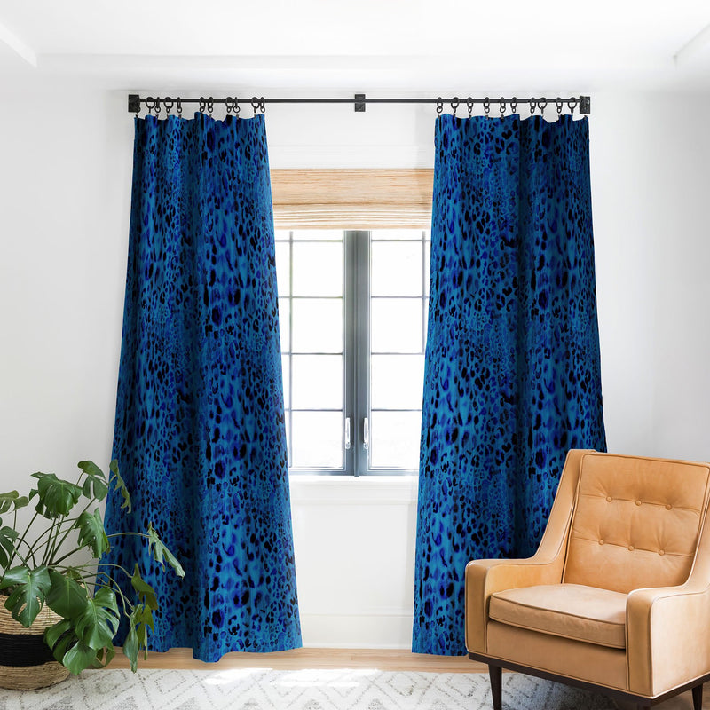 Schatzi Brown Jungle Cat Blue Blackout Window Curtain - the printy people
