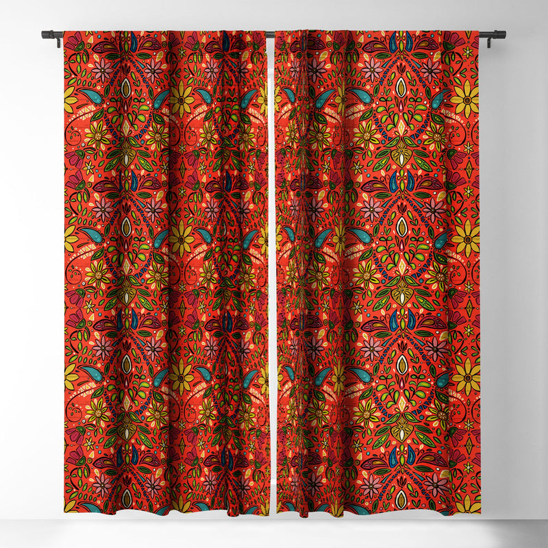 Sharon Turner Aziza Fire Blackout Window Curtain - the printy people