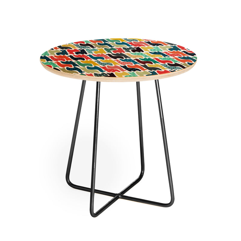 Sharon Turner Baby Ilamas Round Side Table - Round Side Table - theprintypeople