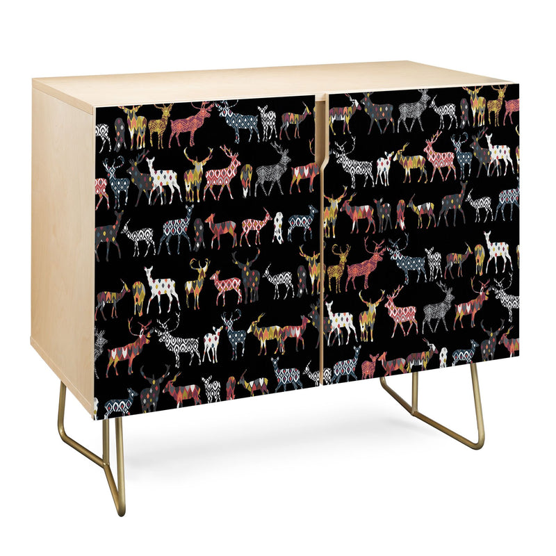 Sharon Turner Charcoal Spice Deer Credenza - theprintypeople