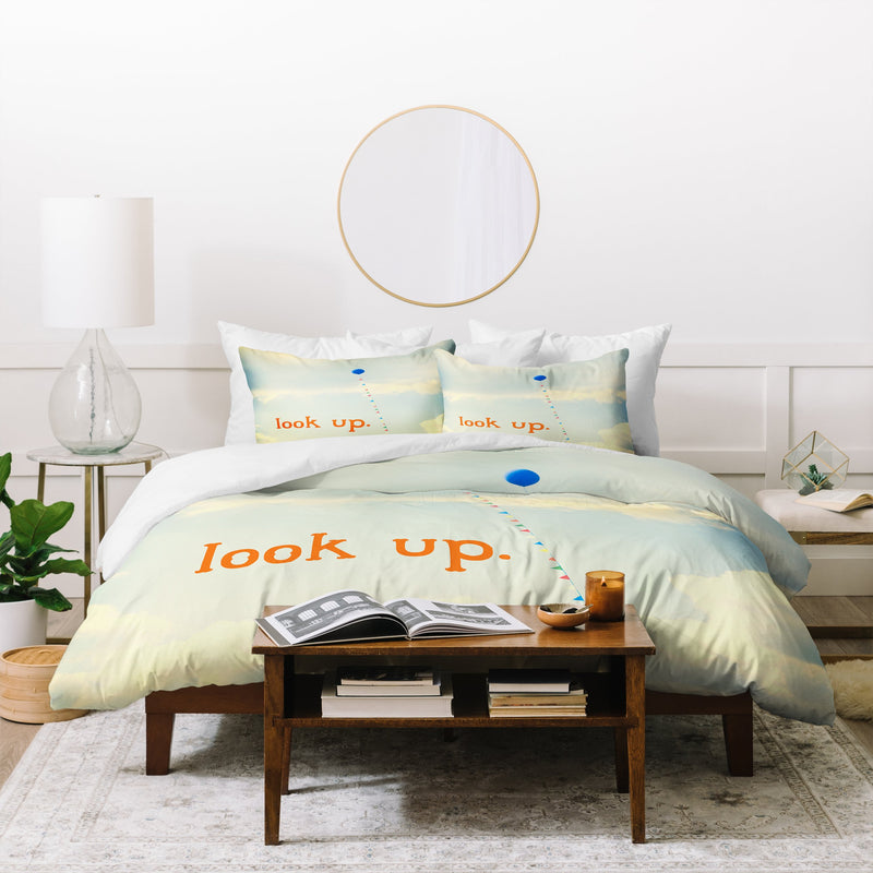 The Light Fantastic Look Up In Orange Duvet Cover - theprintypeople