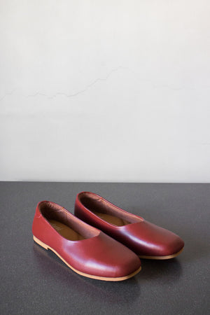 The Ballerine Flat in Maroon - andanté, flats - loafers, flats leather footwear