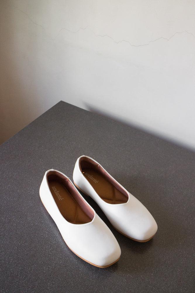 The Ballerine Flat in White - andanté, flats - loafers, flats leather footwear