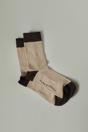 The Mantra Sock in Dark Brown & Oatmeal