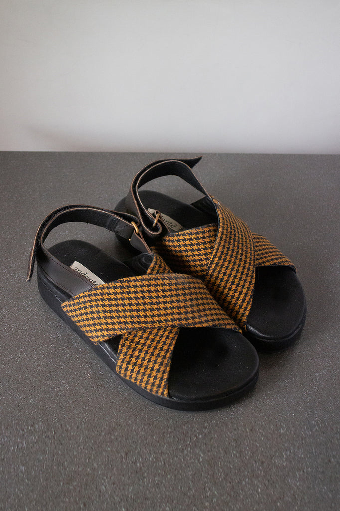 The Cross Sandal in Caramel Plaid