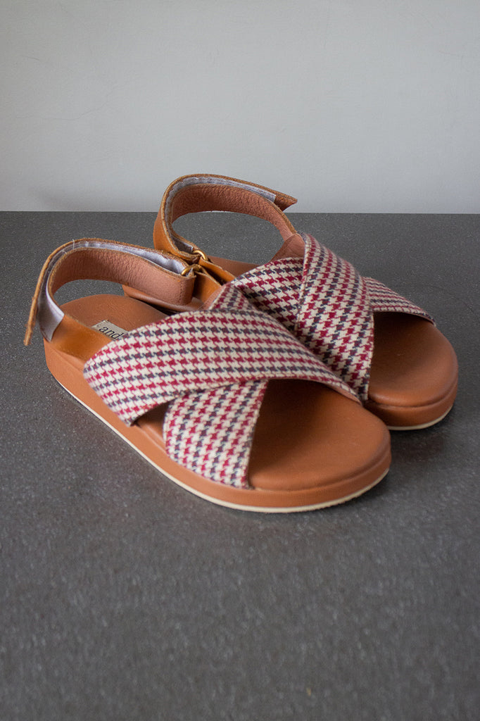 The Cross Sandal in Chestnut Plaid