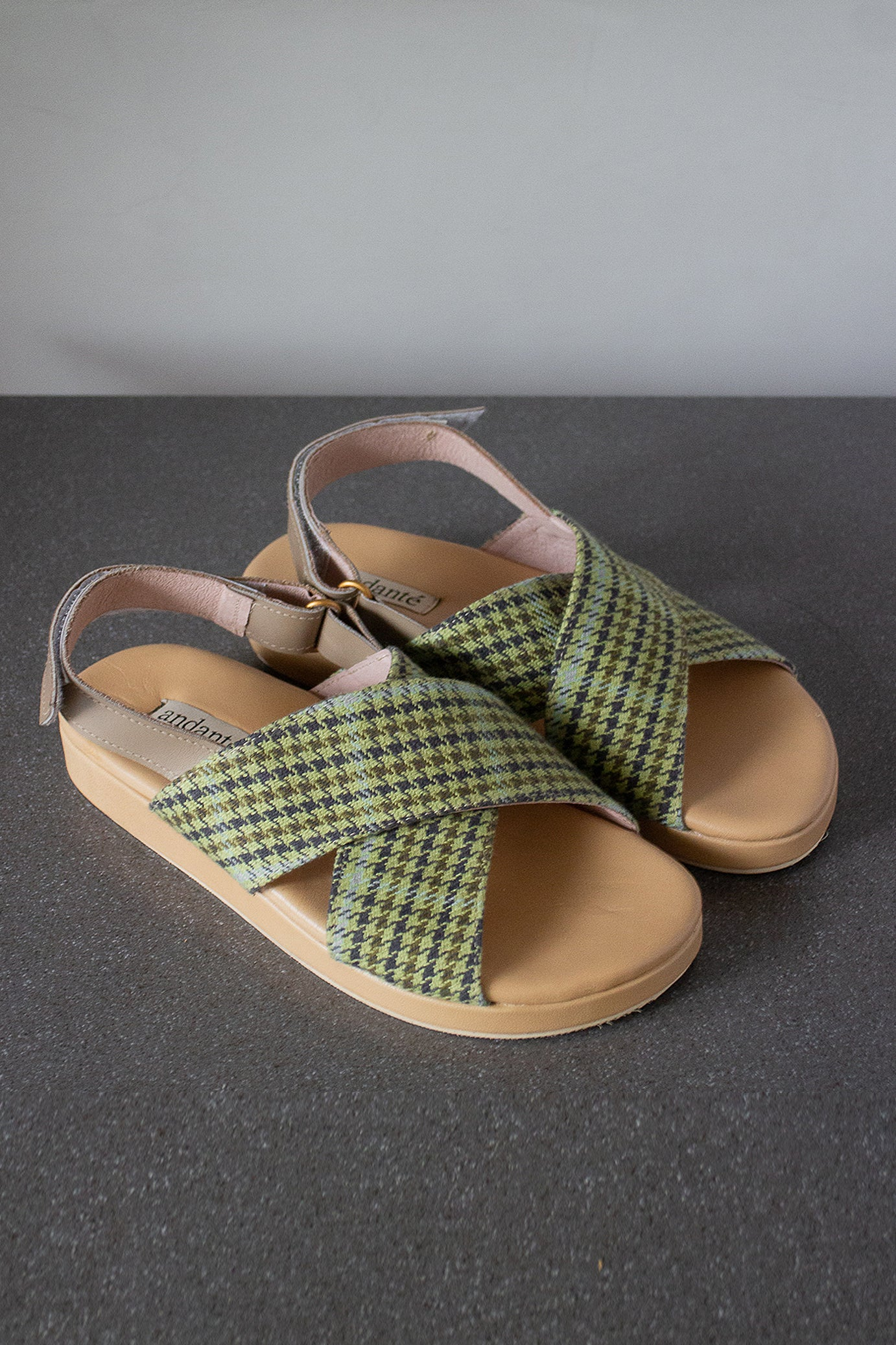 The Cross Sandal in Forest Plaid