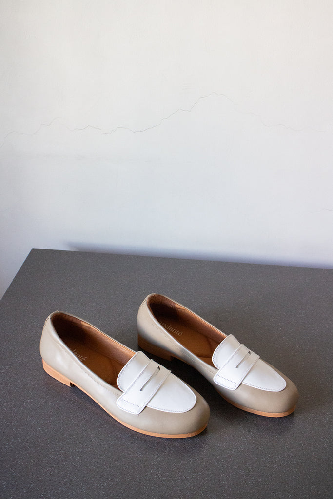 The Penny Loafer in Antique White & White