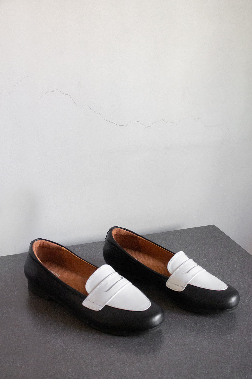 The Penny Loafer in Black & White - andanté, loafers - loafers, loafers leather footwear