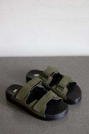 The Cabin Slide in Green Suede
