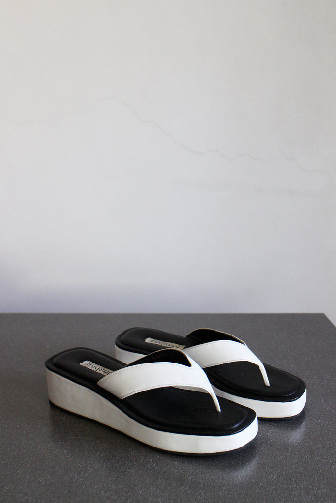 The Platform Sandal in Black and White - andanté, sandals - loafers, sandals leather footwear