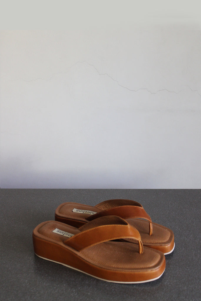 The Platform Sandal in Tan - andanté, sandals - loafers, sandals leather footwear