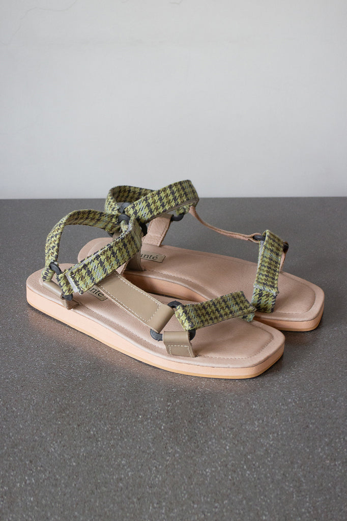 The Sportif Sandal in Forest Plaid