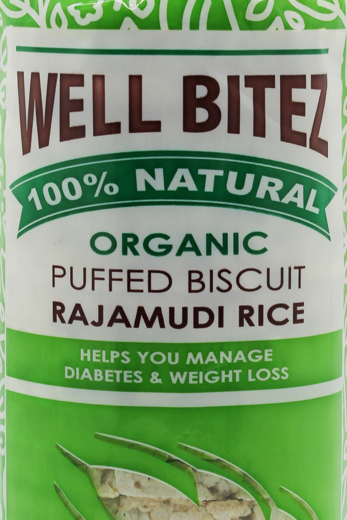 Well Bitez Puffed Organic Rajamudi Red Rice Biscuit