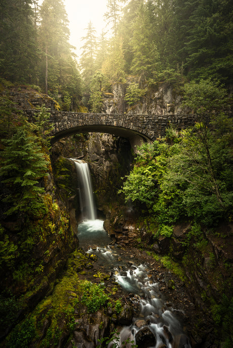Moody-Fantasy-Waterfall-Bridge-Christine-Falls-Mount-Rainier-National-Park-Washington-USA-Mark-Hannah-Photography