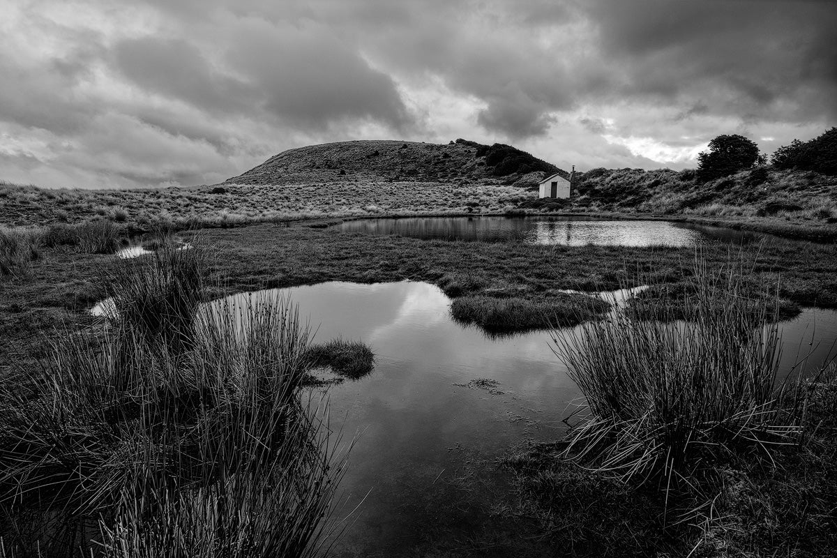 Black-And-White-Long-Exposure-Tarn-Hut-Canterbury-Mark-Hannah-Photography