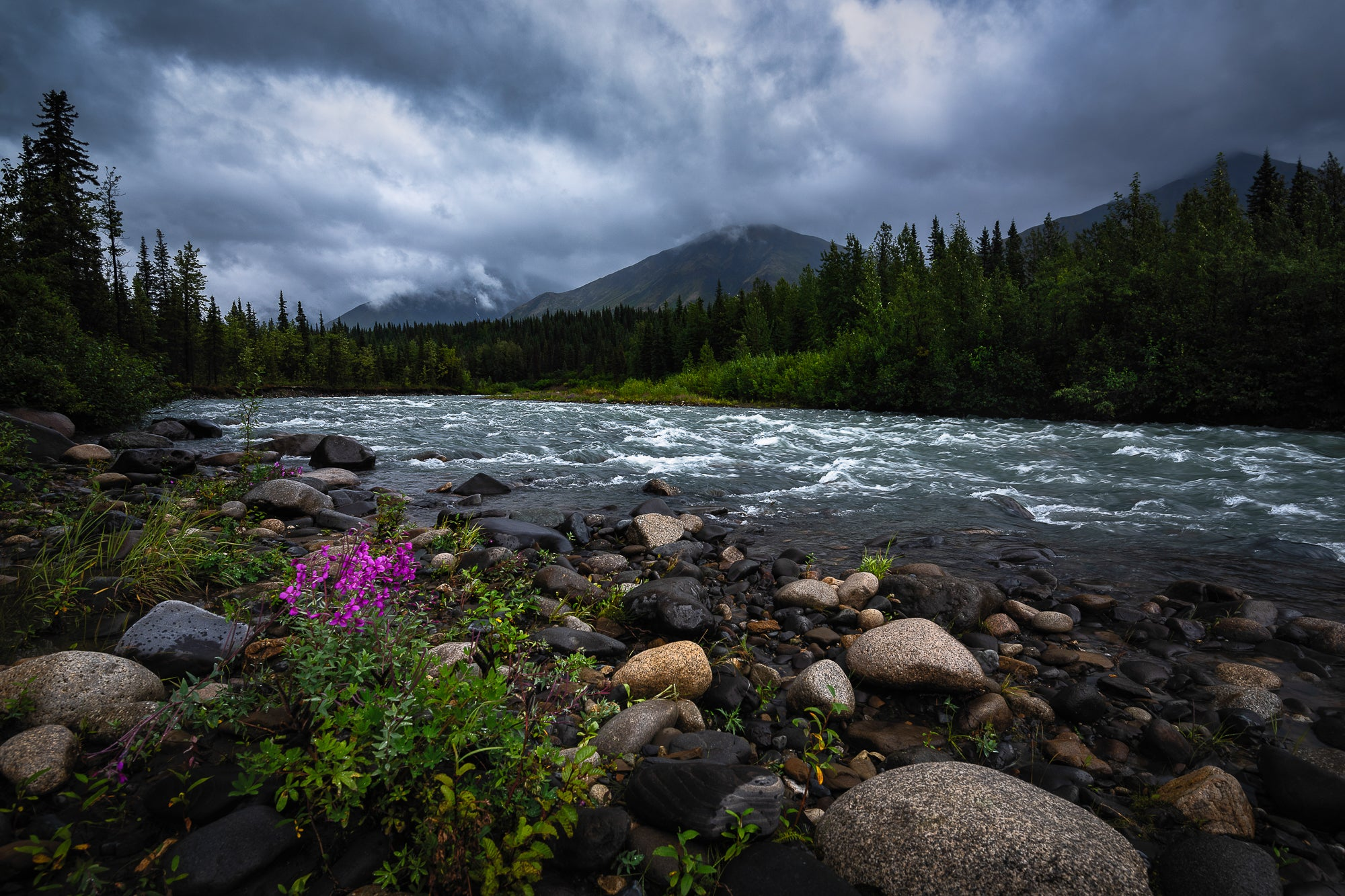 River-Trees-Moody-Clouds-Mountains-Alaska-USA-Mark-Hannah-Photography