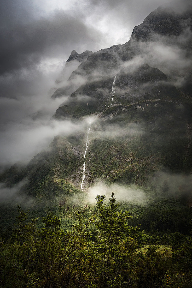 Milford-Track-New-Zealand-Moody-Waterfall-Mark-Hannah-Photography