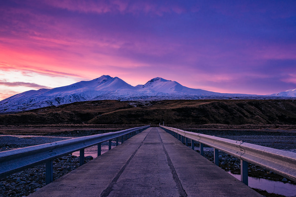 Pink-Sunset-Road-Bridge-Mountain-Potts-River-New-Zealand-Mark-Hannah-Photography