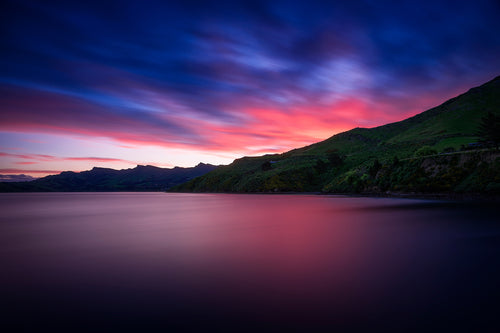 Lyttelton-Harbour-RapakiSunset-Pink-Sky-Reflection-Mountains-New-Zealand-USA-Mark-Hannah-Photography