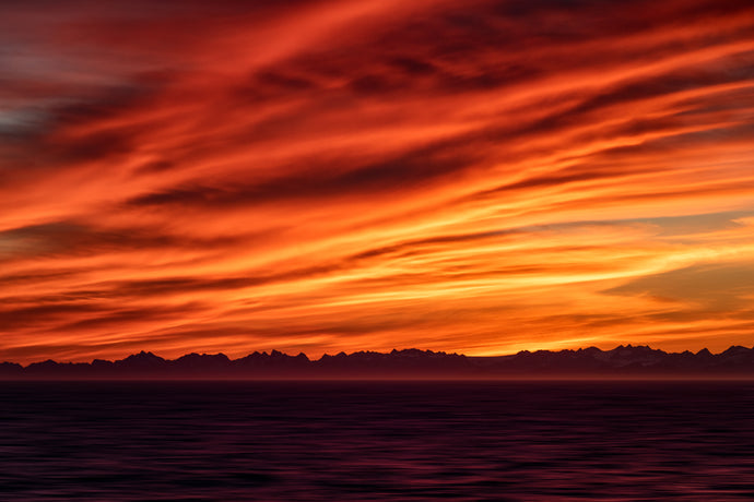 Alaska-Coastline-Red-Sunset-Ocean-Mountains-Clouds-USA-Mark-Hannah-Photography