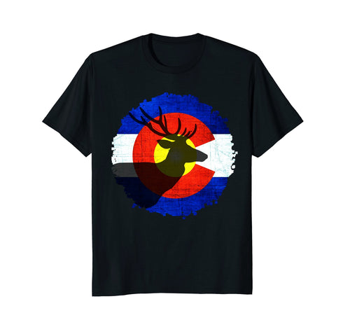 Colorado Flag T-Shirt with Deer Hunting Design