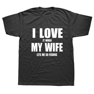 I LOVE MY WIFE FISHING funny t shirt for men short sleeve