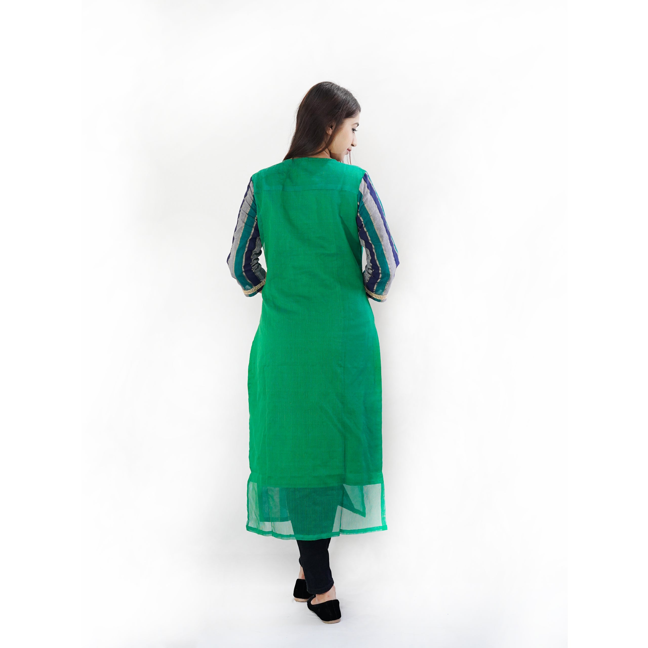 Manurath Women Striped Straight Kurta  (Dark Green, Black)