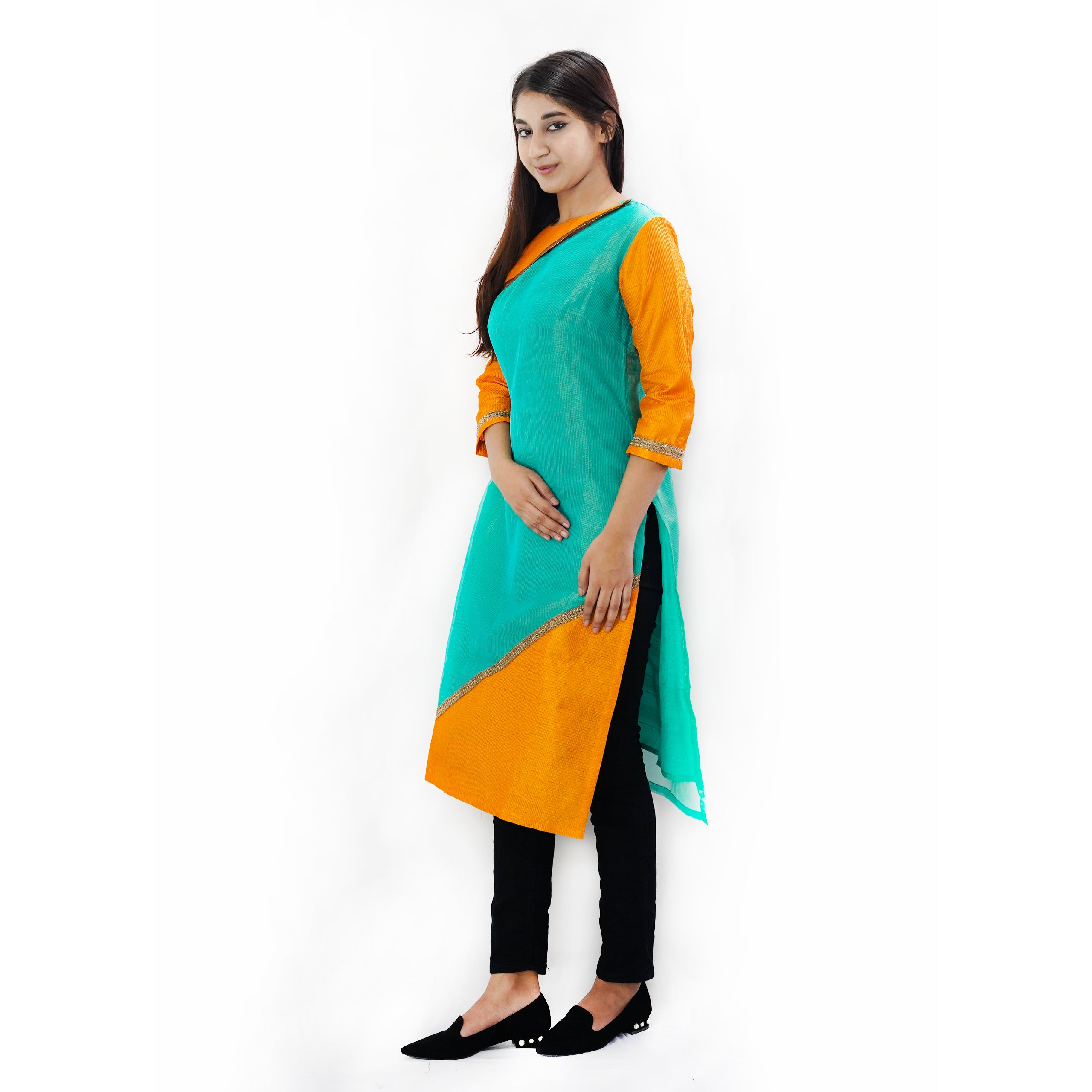 Manurath  Women Solid Straight Kurta  (Light Green)