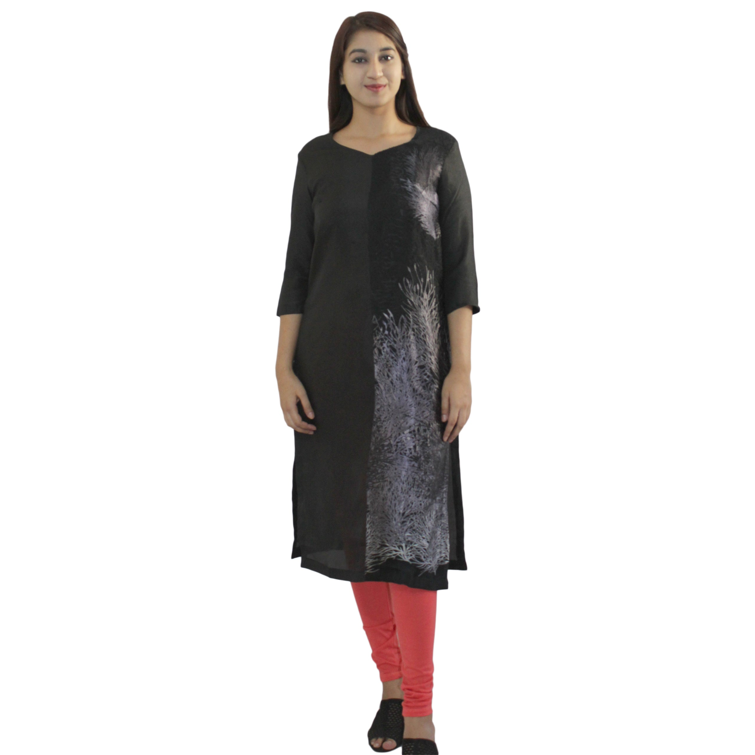 Black printed Kurta