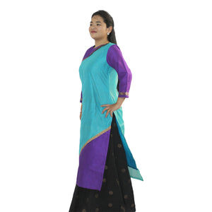 Chanderi long straight kurta