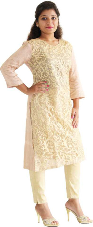MANURATH  Women Embroidered Straight Kurta  (Beige, Gold)