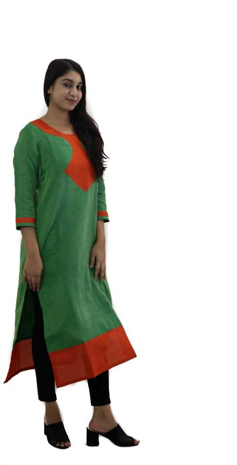 Manurath Women Colorblock Straight Kurta  (Green)