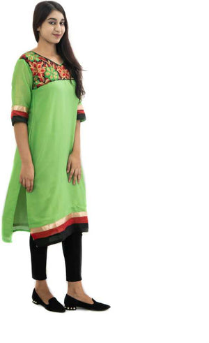 Manurath Women Embroidered Straight Kurta  (Green)