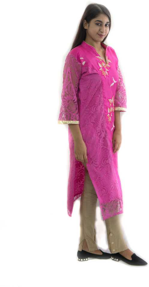 Manurath  Women Embroidered Straight Kurta  (Pink)