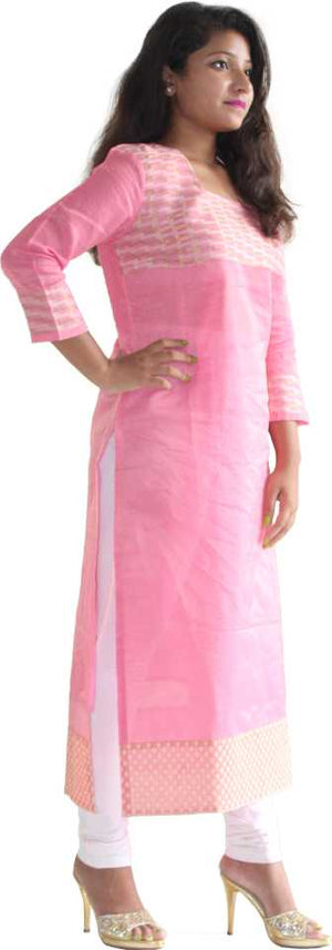 MANURATH  Women Self Design Straight Kurta  (Pink, White)